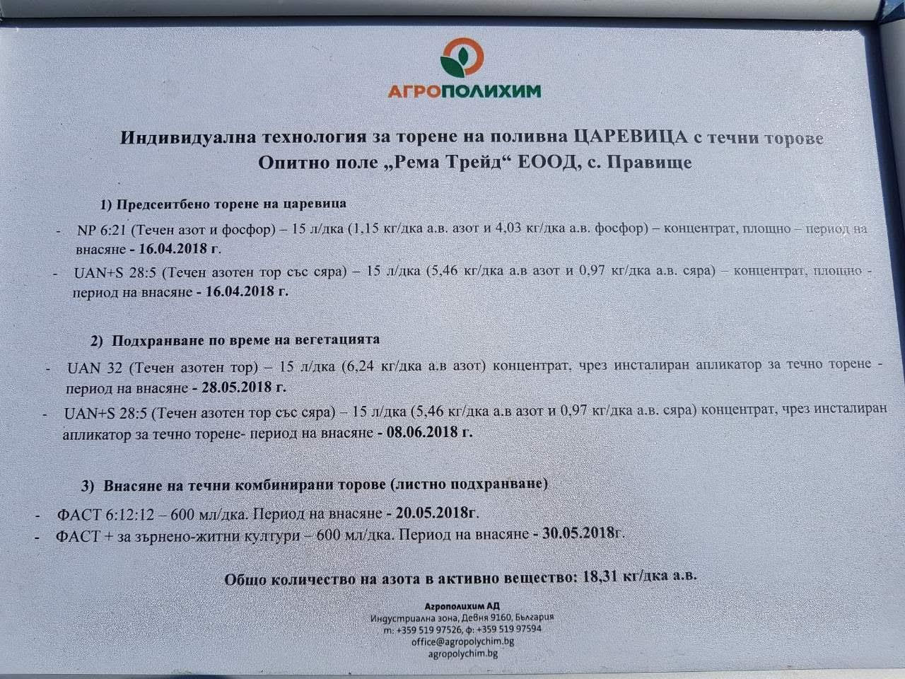 Схема за течно торене на царевица от АГРОПОЛИХИМ